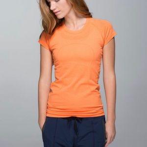 Lululemon   Orange Swiftly Short Sleeve Shirt Sz 8